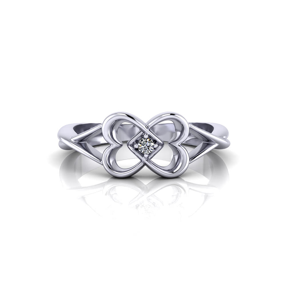 Twin Heart Diamond Promise Ring