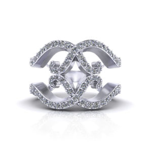 Wide Scrolling Diamond Ring