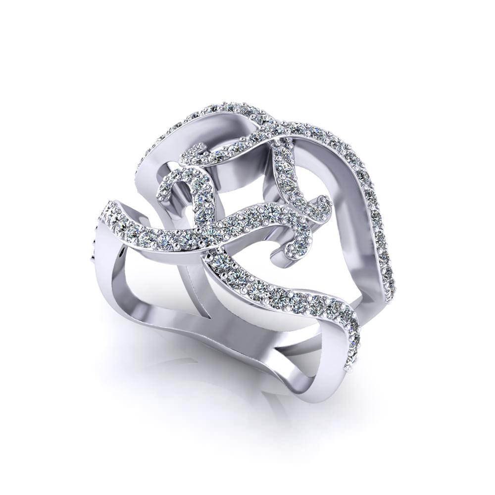 Wide Scrolling Diamond Ring