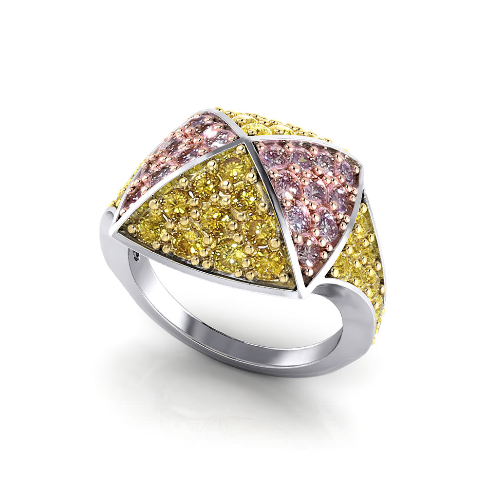 Natural Yellow and Pink Diamond Ring