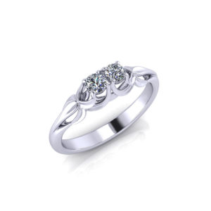 Floral 2 Stone Diamond Ring