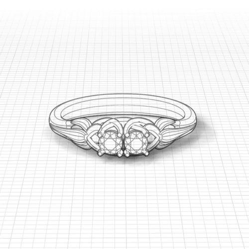 Floral 2 Stone Diamond Ring