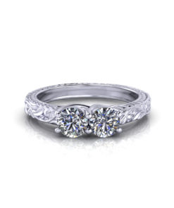 Floral Two Stone Diamond Ring