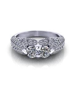Pave Two Stone Diamond Ring