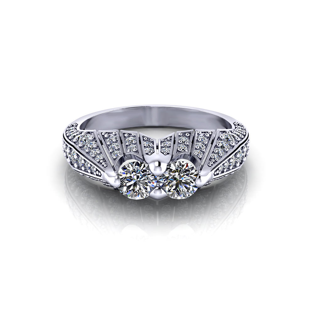 Pave Two Stone Diamond Ring