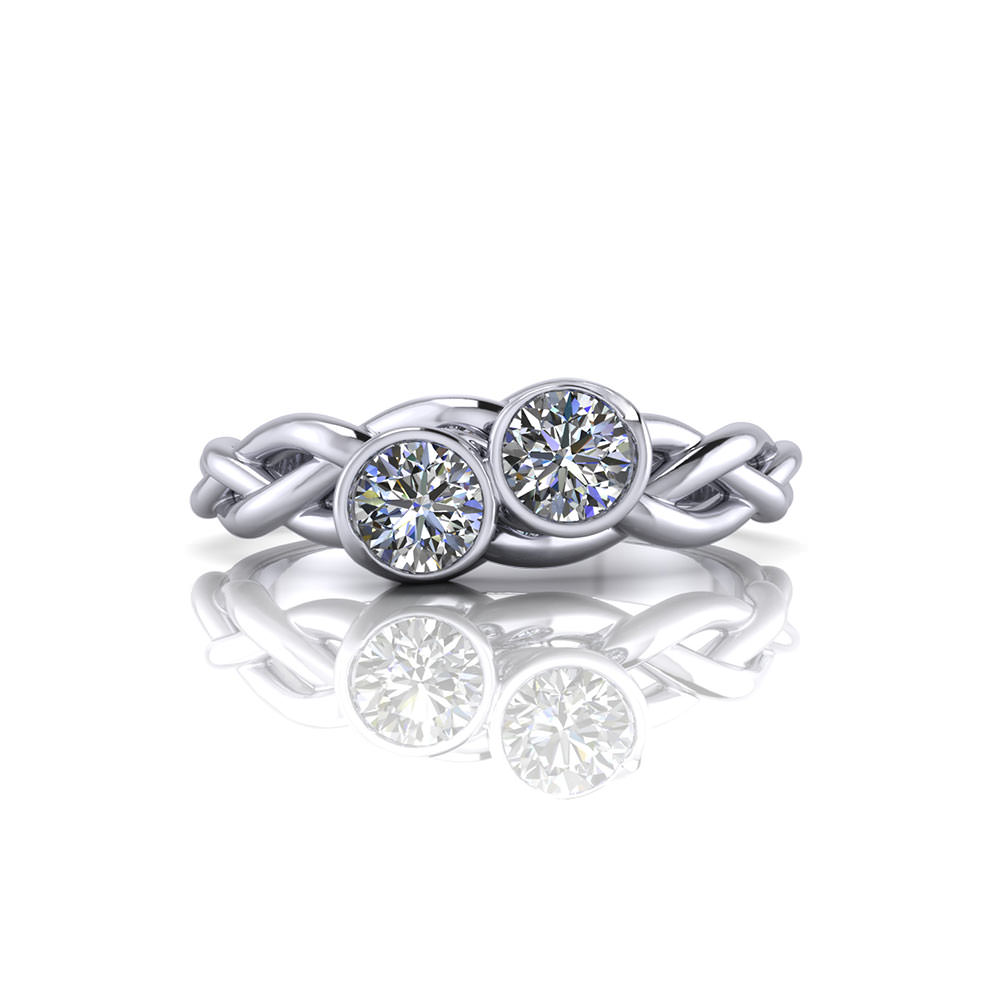 Braided Two Diamond Ring