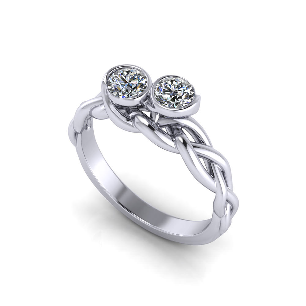 Braided Two Diamond Ring