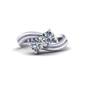 Arched Two Stone Diamond Ring