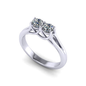 Trellis Two Stone Diamond Ring