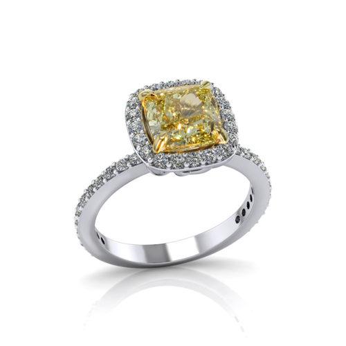 Yellow Diamond Cushion Halo Engagement