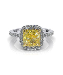 Yellow Diamond Cushion Halo Engagement