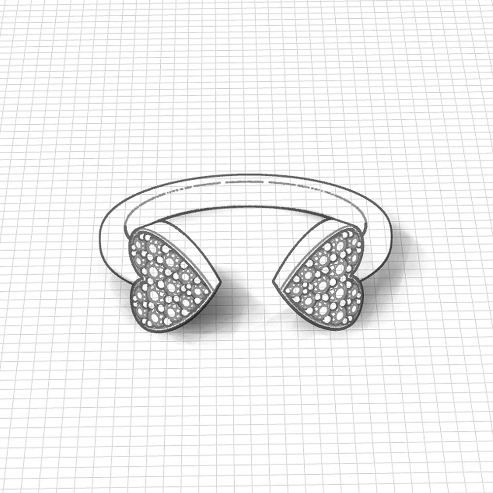 Twin Pave Heart Ring