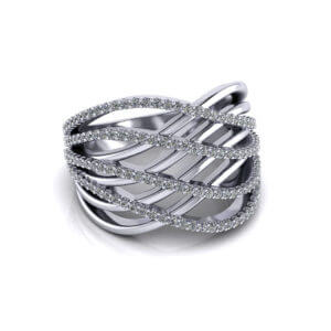 Wide Diamond Crossover Ring