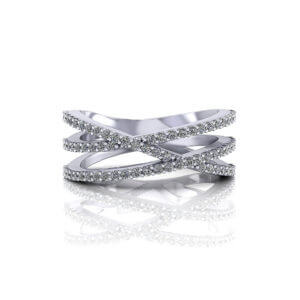 3 Strand Diamond Crossover Ring