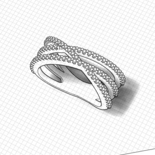 3 Strand Diamond Crossover Ring