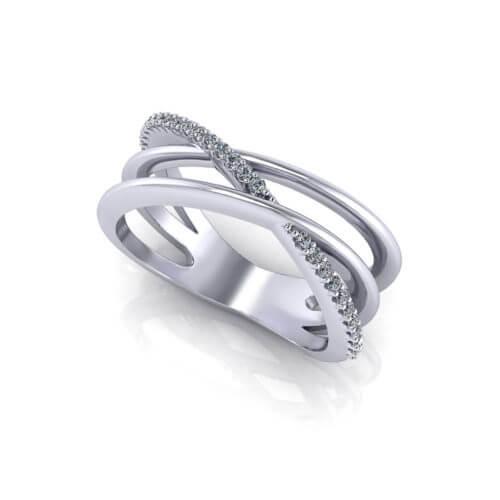 slim diamond crossover ring