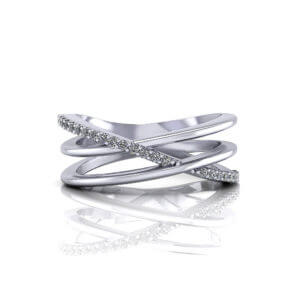 slim diamond crossover ring