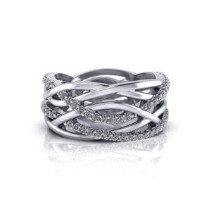 Wide Crossover Diamond Ring