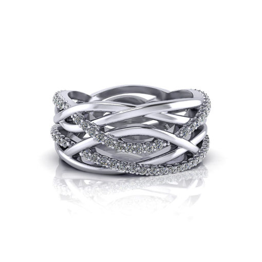 Wide Crossover Diamond Ring