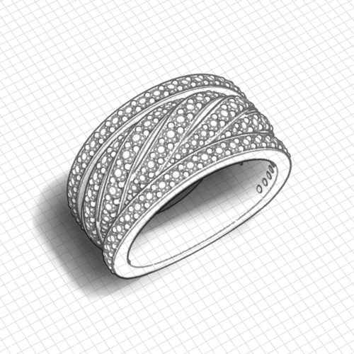 Over Under Wide Diamond Band