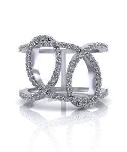 Wide Diamond Loop Ring