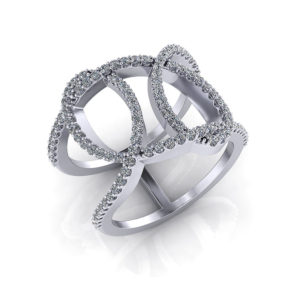 Wide Diamond Loop Ring