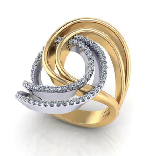 2 Tone Diamond Swirl Ring