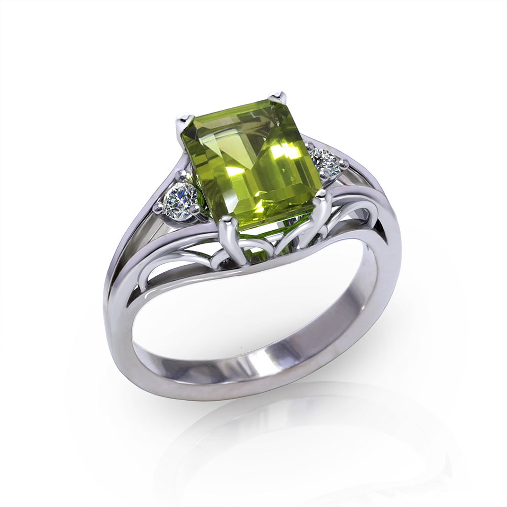 pre owned rings ring yellow product wedding karat peridot gold diamond