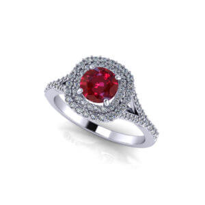 Double Halo Ruby Ring