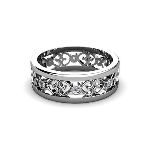 Filigree Wedding Band.Open Heart Filigree Wedding Ring