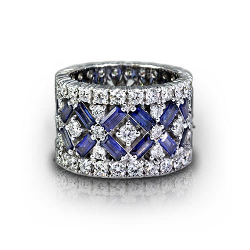 Wide Sapphire Diamond Eternity