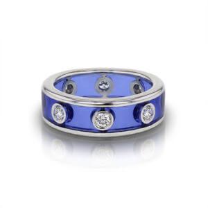 Diamond Enamel Wedding Ring