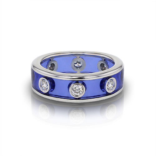 Diamond Enamel Wedding Ring