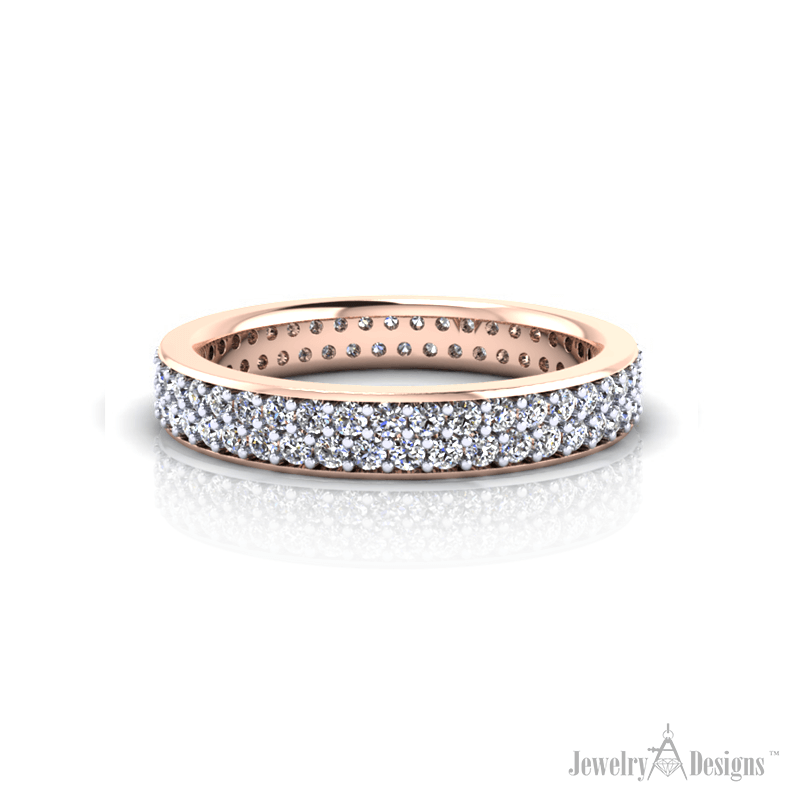 WD313-1-H Rose Gold Pave' Eternity Ring