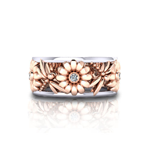 Daisy Dragonfly Wedding Ring