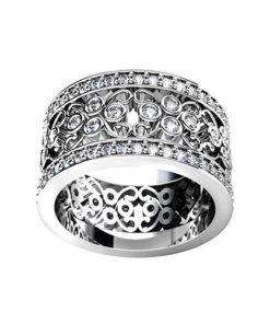Wide Filigree Wedding Ring