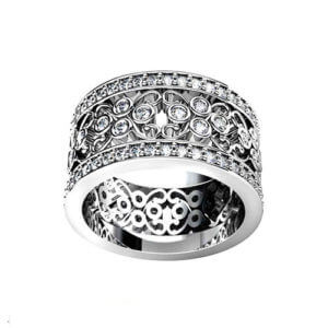 Wide Filigree Wedding Ring