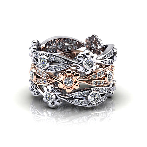 Diamond Floral Wedding Ring