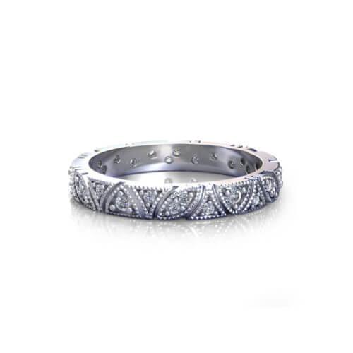 Vintage Millgrain Diamond Wedding Ring