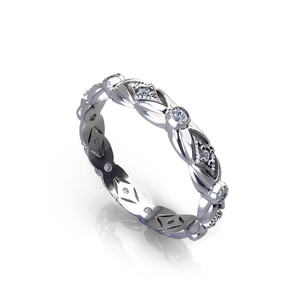 Floral Leaf Diamond Wedding Ring angle