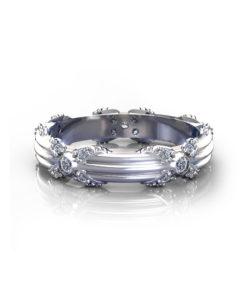 Ribbed Floral Wedding Ring
