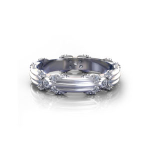 Ribbed Floral Wedding Ring
