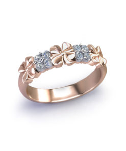 Rose Gold Floral Diamond Band