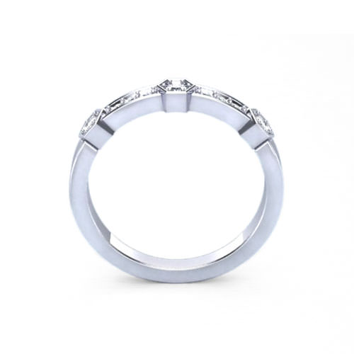 Hexagonal Diamond Wedding Ring