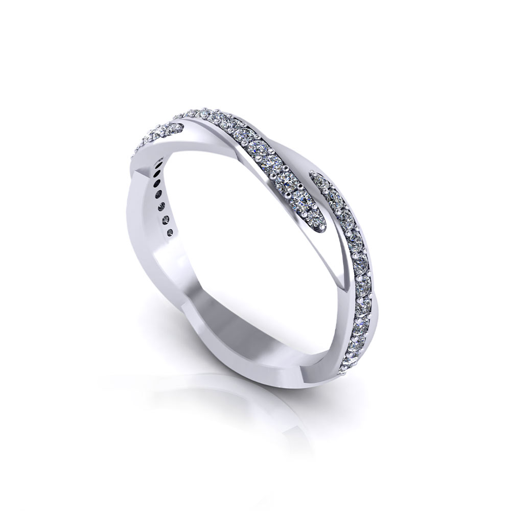Crossover Diamond Wedding Band