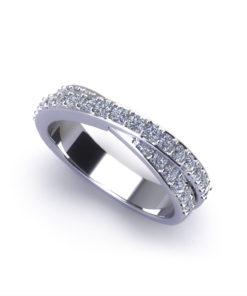 Crossover Diamond Wedding Ring-angle
