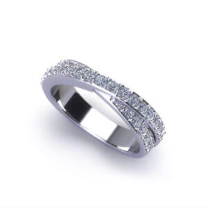 Crossover Diamond Wedding Ring-angle
