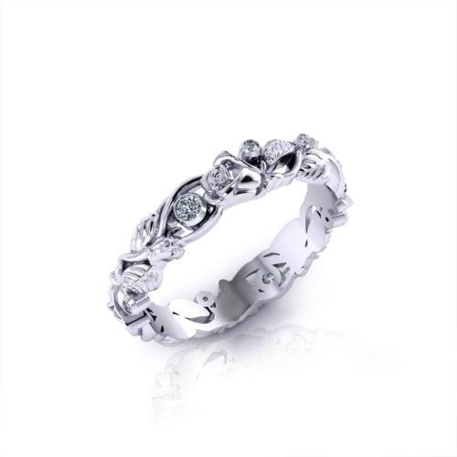 Diamond Rose Wedding Ring-angle