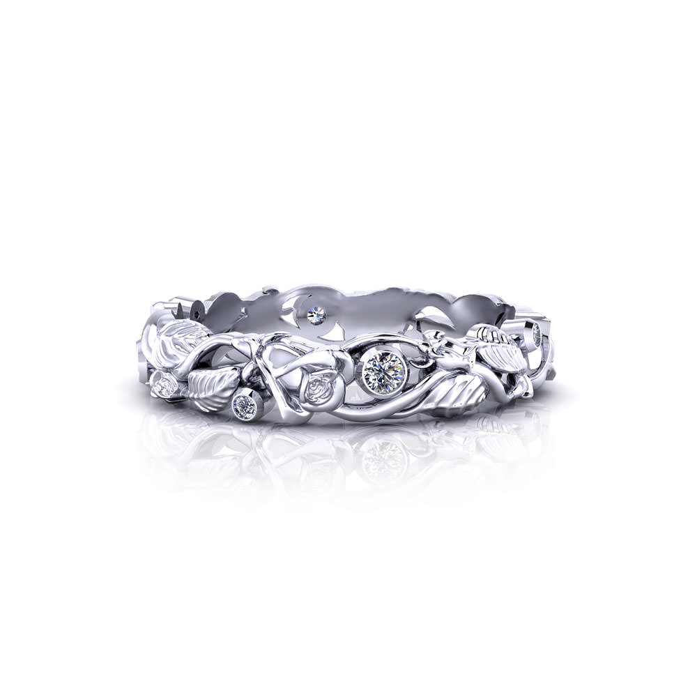 Diamond Rose Wedding Ring Jewelry Designs