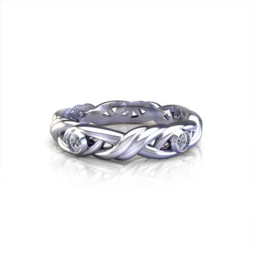 Diamond Crossover Wedding Ring